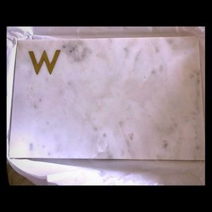 Williams Sonoma Marble cheeseboard brass monogram